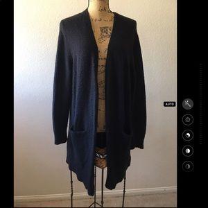 Madewell Ryder Black Wool Blend Long Cardigan Med